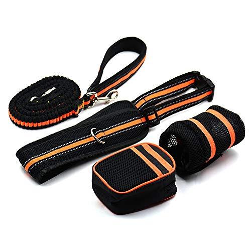 BASMPP Elastische Joggingleine verstellbare Hunde-Leine mit Sicherheitsverschluss Anti-Zug-Stoßdämpfende Bungee-Leine Trainingsleine mit Gepolsterte Griff Reflektierenden Nähte,125-210cm