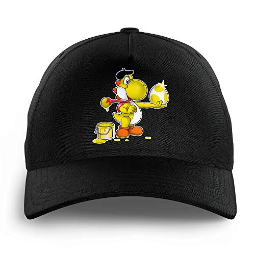OKIWOKI Yoshi Lustiges Schwarz Kinder Kappe - gelb Yoshi (Yoshi Parodie signiert Hochwertiges Kappe - Einheitsgröße - Ref : 546)