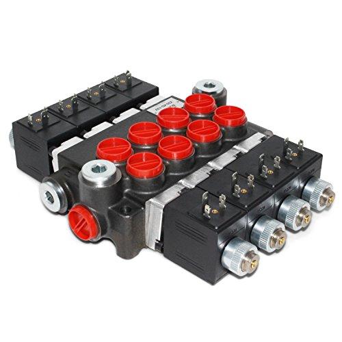 Hydraulic Monoblock Solenoid Directional Control Valve, 4 Spool, 13 GPM, 12V DC