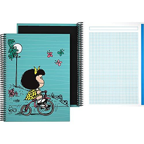 Mafalda 16502639. Cuaderno Cuadriculado A4, 5x5mm, Espiral, Tapa Dura Cartón, Colección Mafalda, Bici, Certificado FSC, 140 Hojas Microperforadas, 4 Taladros, 5 Bandas Color
