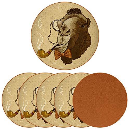Set von 6 Untersetzern rund Leder Getränk Urlaub Kaffee Tasse Matte für Holztisch Kamel mit einer Pfeife und einem Monokel Geschenk zum Geburtstag