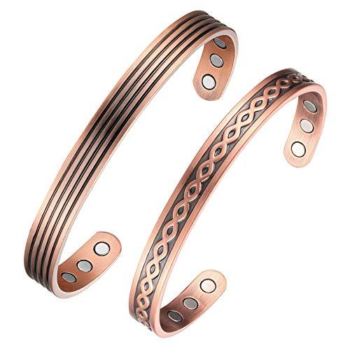 Bracciale in rame per coppia con 6 magneti per la salute