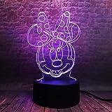 3D Illusion Lamp,Led Night Light Cartoon Nette Maus 3D Nachtlicht, LED Illusion Nachttischlampe 16...