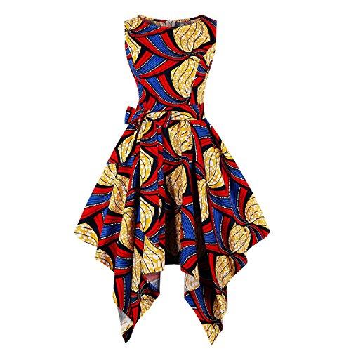 Wellwits Women's Dashiki African Print High Low Asymmetric Vintage Dress 4XL