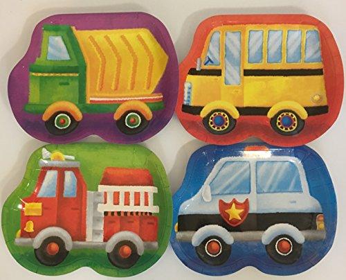 Carpeta 8 Teller * Fahrzeuge * für Kindergeburtstag oder Mottoparty   mit Feuerwehr, Kipper, Polizei und Bus   Plates Pappteller Partyteller