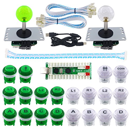SJ@JX 2 Player Arcade Game DIY Kit Highlight Arcade LED Button Arcade Joystick Controller Mechanical Keyboard Switch Zero Delay USB Encoder 2 Player PC Raspberry Pi 2/3
