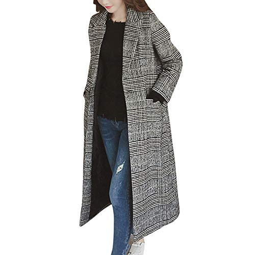 Alwayswin Damen Winter Warme Mantel Revers Wollmantel Elegant Wild Windjacke Mode Wild Langer Mante Lose Warme Trench Jacke Outwear Wintermantel Mantel mit Knopf Tasche