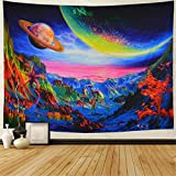 Planet Tapestry Trippy Mountain Tapestry Psychedelic Trees Mushroom Tapestry Magic Space Tapestry Fantasy Sea Landscape Tapestry Wall Hanging for Bedroom