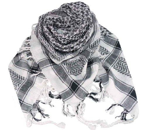 Harrys-Collection PLO Tuch in 20 Farben 100% Baumwolle dick, Weiss-schwarz, Einheitsgröße