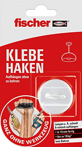 fischer KLEBE HAKEN, selbstklebender Wandhaken in Weiß, praktische Aufhängung ohne Bohren, für Badezimmer und Küche geeignet, starker Klebehaken, hält bis zu 10 kg