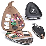 XTON Guitar Picks Holder Case for Acoustic Electric Guitar, Variety Pack Picks Storage Pouch Box, PU leather Guitar Plectrums Bag with Lanyard, Gift for Guitar Players (Case Only)