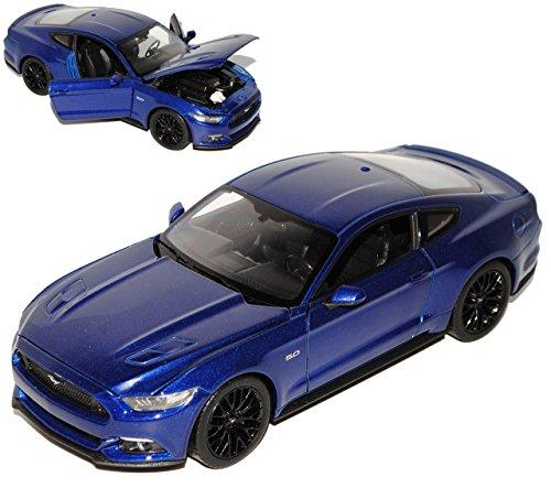 Welly Ford Mustang VI Coupe Blau Ab 2014 1/24 Modell Auto mit individiuellem Wunschkennzeichen