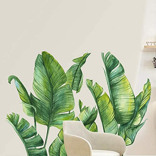 NA Green Plants Wall Stickers Removable PVC Fresh Leaves Stick Wall Decals Creative Murals Paper product image