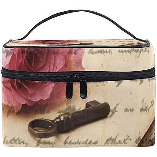 Sac cosmétique, Organisateur de Maquillage de Voyage Rose Rose Vintage Sac étui à cosmétiques Portable Train Case-D1SZ-FSO