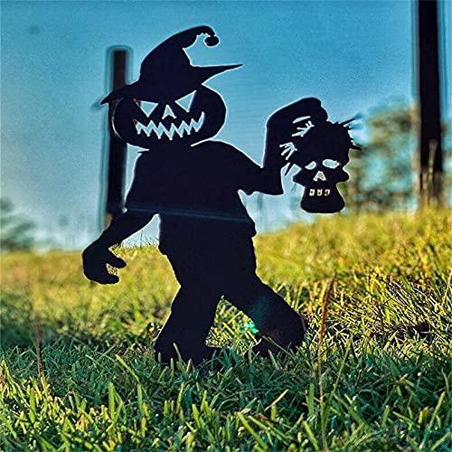 HeiHeiDa Decoración de jardín para Halloween, diseño de diablo con calabaza de metal