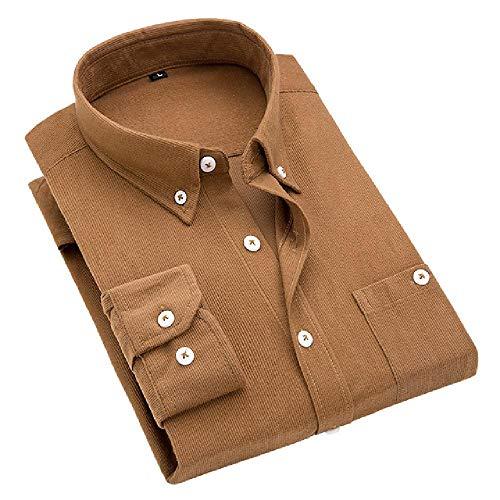Herfst Shirts Mannen Corduroy Warm Mannelijke Shirts Grote Maat 5XL Straat Jurk Slank Effen Smart Casual Mannen Jeugd Mode
