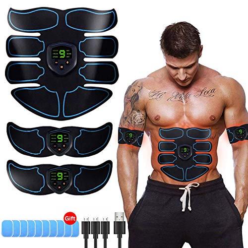 Electroestimulador Muscular, Abdominales Cinturón, Estimulador Muscular Abdominales, Masajeador Eléctrico Cinturón con USB, EMS Ejercitador del Abdomen Brazo Piernas Cintura (Hombre Mujer)