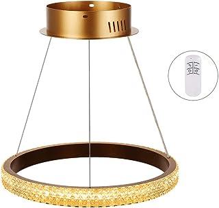Horevo Anillo Lámpara Colgante Regulable, 24W Led Lamparas Techo Colgantes Cristal Moderno Diseño Iluminación Interior para Sala, Dormitorio, Comedor, Cocina, Atenuación Continua, Ajustable
