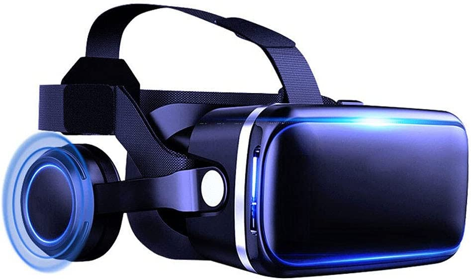 Gffeijc Gaming VR Glasses Headset for Phone, 3D Virtual Reality Goggles for Movies Video with Wireless Headphones for iPhone 12 11 Pro Max Mini X R S 8 7 for Android Samsung 4.7-6.2
