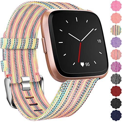 Maledan Replacement Bands for Fitbit Versa, Women Men, Small, Rainbow Pattern
