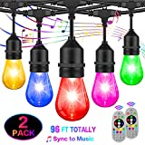 2-Pack 48FT Color Changing Outdoor String Lights, Upgraded RGB LED String Lights Music Sync with Dimmable S14 Edison Bulbs Waterproof&Shatterproof, Commercial Patio Light String for Café Backyard 96FT
