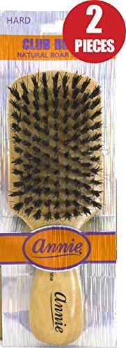 Annie Natural Boar Bristle Hard Club Brush #2061-2 pieces, Reinforced boar bristles, reinforced bristles, wavy hair, straight hair, long hair, short hair, no more tangles, detangler