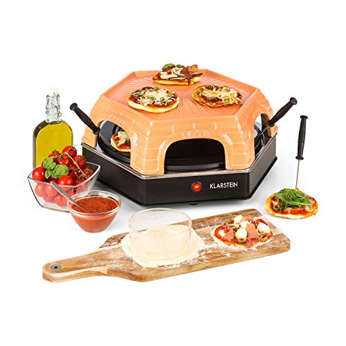 Klarstein Capricciosa - Horno para Pizza 6 personas, Pizzera electrica 1500W, Cocción en 5-7 minutos, Cubierta de terracota, Conserva el calor, Marrón
