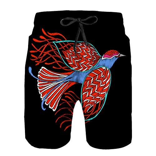 Hombres Verano Secado rápido Pantalones Cortos Playa pájaro Bordado Bordado diseño Elemento Vintage Trajes de baño Correr Surf Deportes-2XL