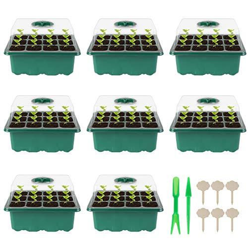 Herefun Zimmergewächshaus Anzuchtkasten, 8 Stück 96 Zellen Mini Gewächshaus Anzüchten von Pflanzen, Anzuchtschalen Anzucht Set, Setzling Starter Tabletts für Haus, Bauernhof und Innenhof, Balkon
