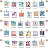 BIZYAC Photo Display Instant Wall Hanging String with Clips Picture Frames - 3M Self Adhes...