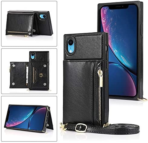SLDiann Case for iPhone XR, Zipper Wallet Case with Credit Card Holder/Crossbody Long Lanyard, Shockproof Leather TPU Case Cover for iPhone XR (Color : Black)