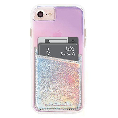 Case-Mate CM035444 - Stick On Credit Card Wallet - POCKETS - Ultra-slim Card Holder - Universal fit - Apple – iPhone – Samsung – Galaxy - and more – Iridescent