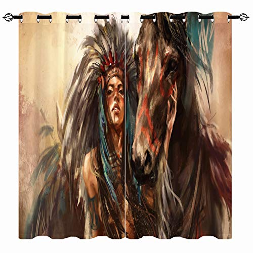 ANHOPE Western Curtains, Native American Feathered Headdress Indian Women with Horse Art 3D Print Pattern Grommet Room Darkening Blackout Window Drapes for Cafe Kitchen Bedroom 2 Panels W27.5 x L39