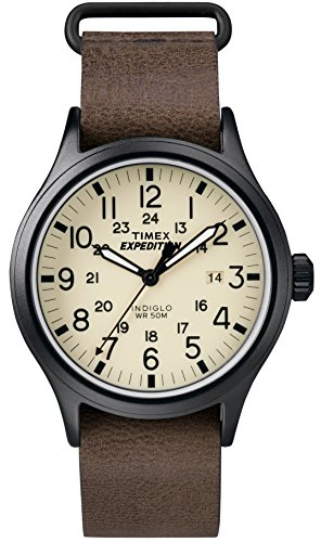 Timex Men's TWC007000 Expedition Scout 40mm Tan/Brown Leather Slip-Thru Strap Watch