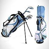 Juego Completo De Palos De Golf para NiñOs, Mano Izquierda, Palos De Golf para NiñOs, Incluye Madera De Calle, Hierros 7# Y 9#, Putter, Cubierta para La Cabeza, Bolsa para Soporte De Golf,Azul,M