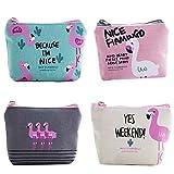 TININNA Satz von 4 Nettes Flamingo Muster Segeltuch Münzen Geldbeutel Segeltuch Änderungs Bargeld Beutel Kleine Geldbeutel Mappen mit Reißverschluss EINWEG Verpackung