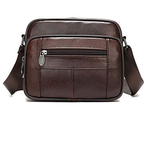 Gaoominy Men's Bags Leather Casual Men's Shoulder Bag for Men Flap Zipper Men'S Crossbody Bag Leather Messenger Handbags 6205 Coffee
