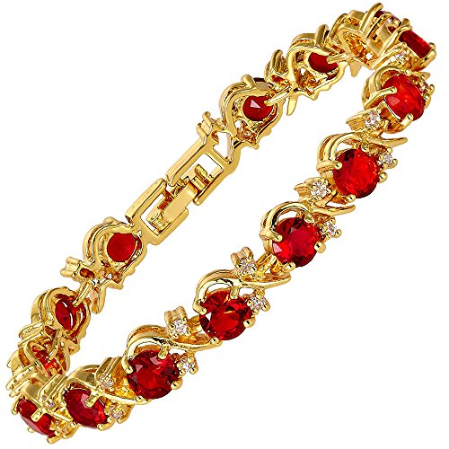 RIZILIA Blossom Tennis Bracelet & Round Cut CZ [Simulated Red Ruby] in Yellow Gold Plated, 7'