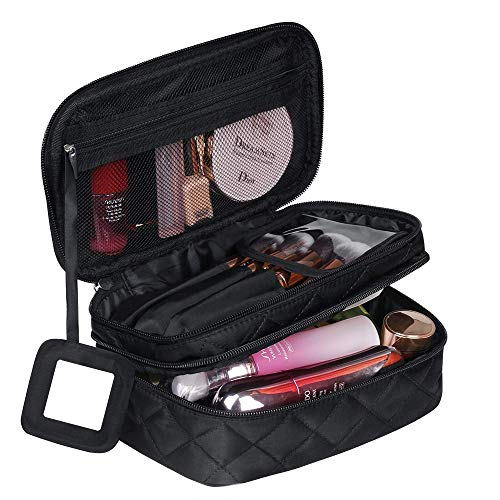 Make Up Bag Organizer for Women, Travel Cosmetic Bag Waterproof with Brush Compartment and Mirror Portable Double Layers Large Capacity Make up Case