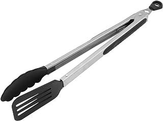 Fackelmann 40281 - Pinzas multiusos (35 cm, acero inoxidable, para ollas y sartenes con revestimiento), color negro y plateado