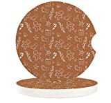 """Car Coasters Pack of 2,Small 2.56"""" Stone Car Cupholder Absorbent Coaster Set for Women Men Drink Cup Holder Coasters,Gingerbread Man Traditional Christmas Cookie Pattern Tile"""