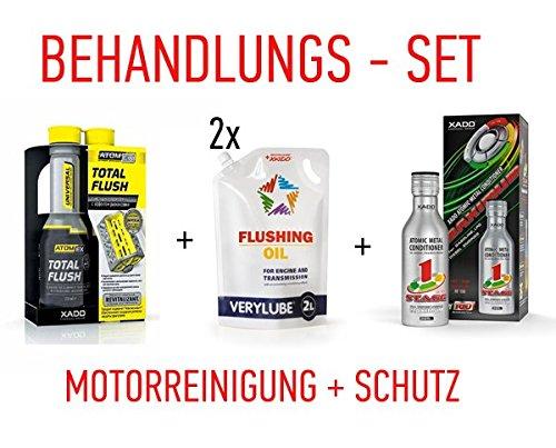 XADO Behandlung Set Motor-Reinigung & Schutz Total Flush + 2X Spül-Öl + 1 Stage Maximum