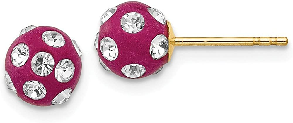 14k Yellow Gold Crystal Fuchsia 6mm Post Stud Earrings Ball Button Fine Jewelry For Women Gifts For Her