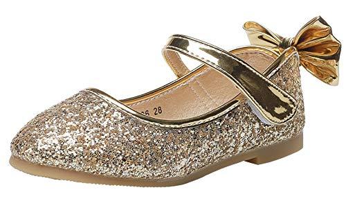 WUIWUIYU Mädchen-Ballerinas mit glänzenden Pailletten, atmungsaktiv, bequem, Gold - goldfarben - Größe: 35 EU