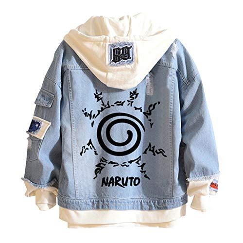 LOOVEE Naruto Giacca di Jeans, 3D Kakashi Uchiha Sasuke Uzumaki Naruto Giapponese Anime Cosplay Casual Jacket Cappotto Autunno Inverno Felpa con Cappuccio Hoodie per Uomo Donna Coppia (B3,M)