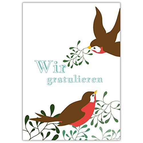 Schattige wenskaart met vogels en mistelen: wij gratuleren in blauw • individuele kaart met envelop om te feliciteren, cadeau te geven.