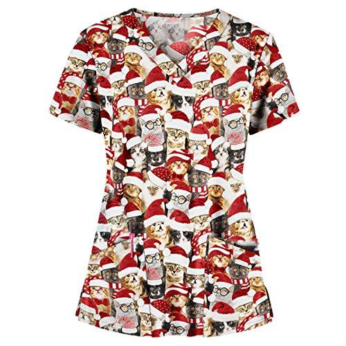 Dasongff V-Neck Kasack, Schlupfhemd mit Motiv Bedruckt in Arztkleidung das Erntedankfest Weihnachten Halloween Schlupfhemd Kasack X-Mas Schlupfkasack mit Tasche