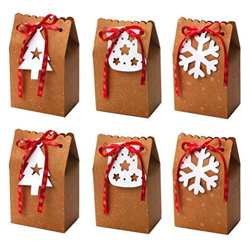 GARNECK 6 pezzi scatole regalo di natale scatole di cioccolatini scatole pratiche di mela creative regali portatili scatole di imballaggio porta caramelle di natale