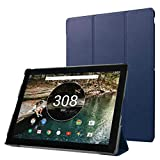 Zrengp for Google Pixel C 2015 10.2 inch Tablet Smart Cover, Ultra Thin Slim Folio Stand with Sleep/Wake Up Function Leather Case +1x Clear Screen Protector (Dark Blue)