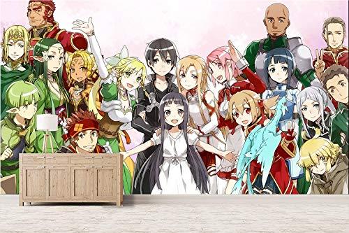 Tapeten Kinderzimmer Wandbild Bild Tapete Wallpaper 3D Anime Wandbild Wandaufkleber Wandgemälde Poster Bilder Gmankee Sword Art Online,400cmx280cm(W×H)